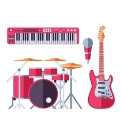 musical instruments flat icons for music vector image vector image