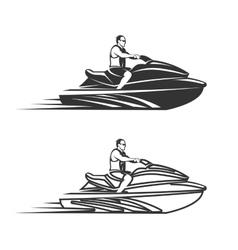 Set of man on Jet Ski isolated white background vector image