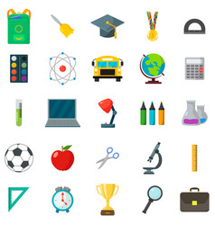 set of school icons cartoon and flat style white vector image vector image