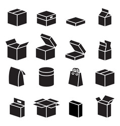 silhouette box packaging icon vector image