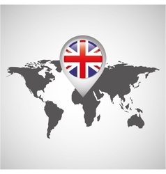 World map with pointer flag england vector