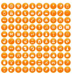 100 baby icons set orange vector image