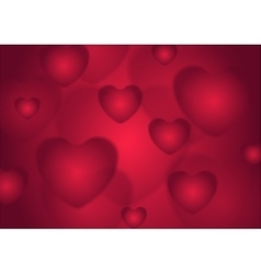 Abstract red Valentines Day hearts background vector image