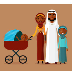 Arab couple with a stroller happy muslim family vector