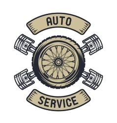 Auto emblem Wheel of pistons vector image vector image