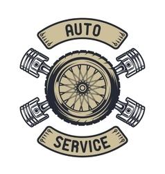 auto emblem wheel pistons vector image