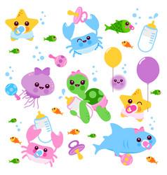 Baby sea animals set vector