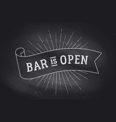 Bar open chalk board vector