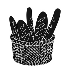Basket of baguette icon in black style isolated on vector