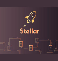 Blockchain stellar cryptocurrency style background vector