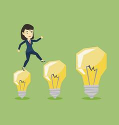 Business woman jumping on light bulbs vector