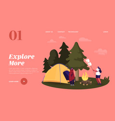 camping landing page template female characters vector image
