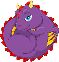 cartoon baby dragon sleeping vector image