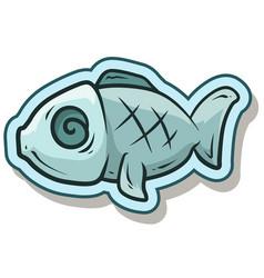 cartoon blue cute fish sticker icon vector image