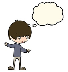 Cartoon boy with outstretched arms with thought vector