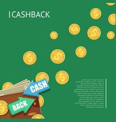 Cashback banner with wallet vector