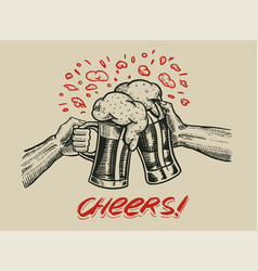 cheers toast beer in hand vintage alcoholic vector image
