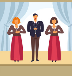 Choir people singing on opera stage vector
