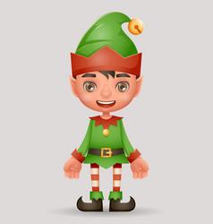 christmas elf boy santa claus helper new year 3d vector image