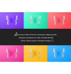 Colorful paper butterfly cutouts vector image