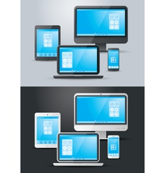 Computer Laptop Tablet Smart Phone Objects Set vector