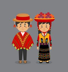 Couple character wearing peru national dress vector