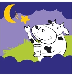 Cow With Star at Night vector image