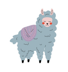 cute llama adorable alpaca animal character in vector image