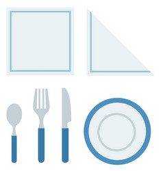 Cutlery for breakfast flat isolated vector