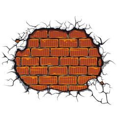 Damaged brickwall vector