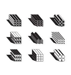 Different metal building profiles vector