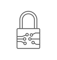 Digital electronic padlock thin line symbol icon vector
