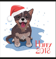 Dog wearing santa hat happy new 2018 year concept vector