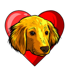 Dog with heart icon favorite pet adopt animal vector