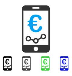 Euro mobile report flat icon vector