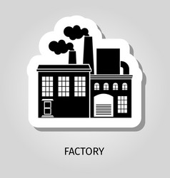 factory black building sticker vector image