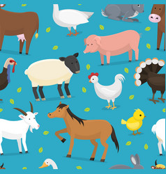 Farm animals domestic characters cow vector