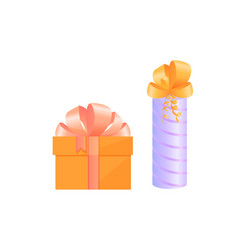 festive boxes with gifts tied with satin bows vector image