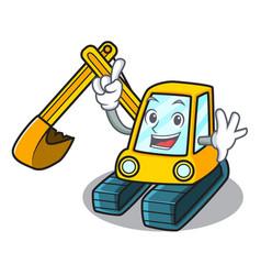 Finger excavator mascot cartoon style vector