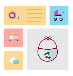 flat icon kid set of napkin pinafore baby plate vector image