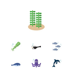flat icon nature set of playful fish seaweed vector image