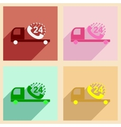 Flat with shadow concept mobile application car vector