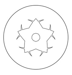 Flower icon black color in circle or round vector