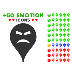 furious smiley map marker icon with bonus mood vector image