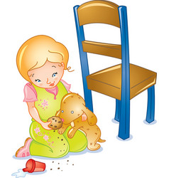 Girl and toy dog vector