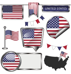 Glossy icons with American flag vector