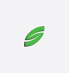 green leaf letter s icon symbol vector image