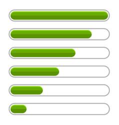 Green progress bar set on white background vector