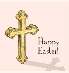 Hand drawn easter gift card with orthodox cross vector