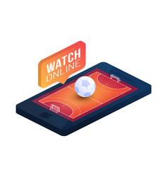 handball field on phone screen online concept vector image